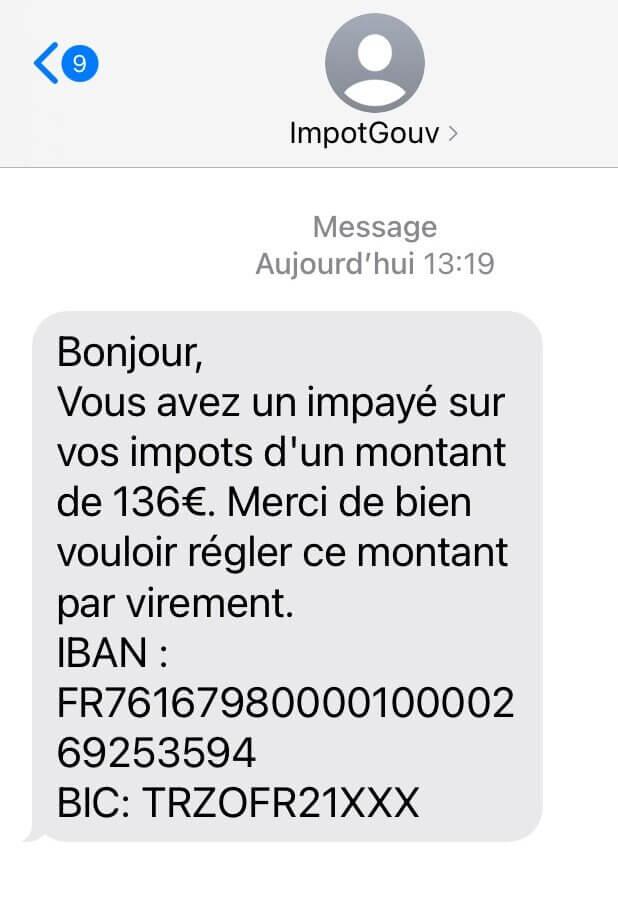 Exemple de SMS frauduleux demandant le règlement d'un impayé