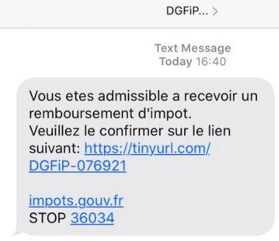 Exemple de message (SMS) malveillants annonçant un remboursement