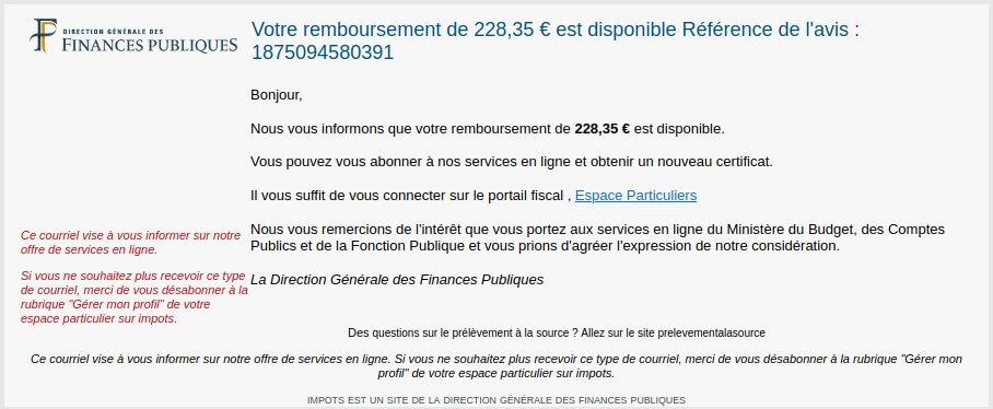 Exemple de message (mail) malveillants annonçant un remboursement